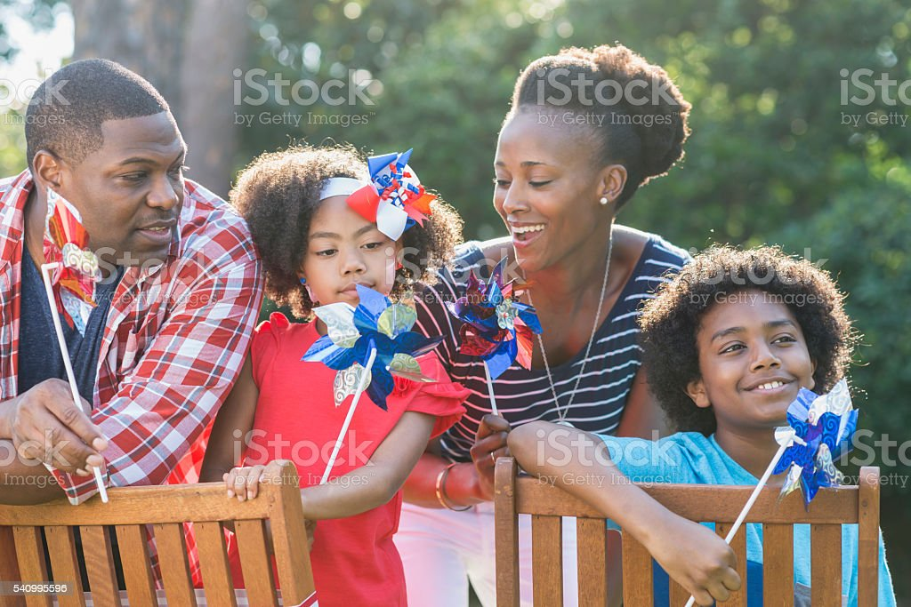 Family celebrating Memorial Day or July 4th stock photo