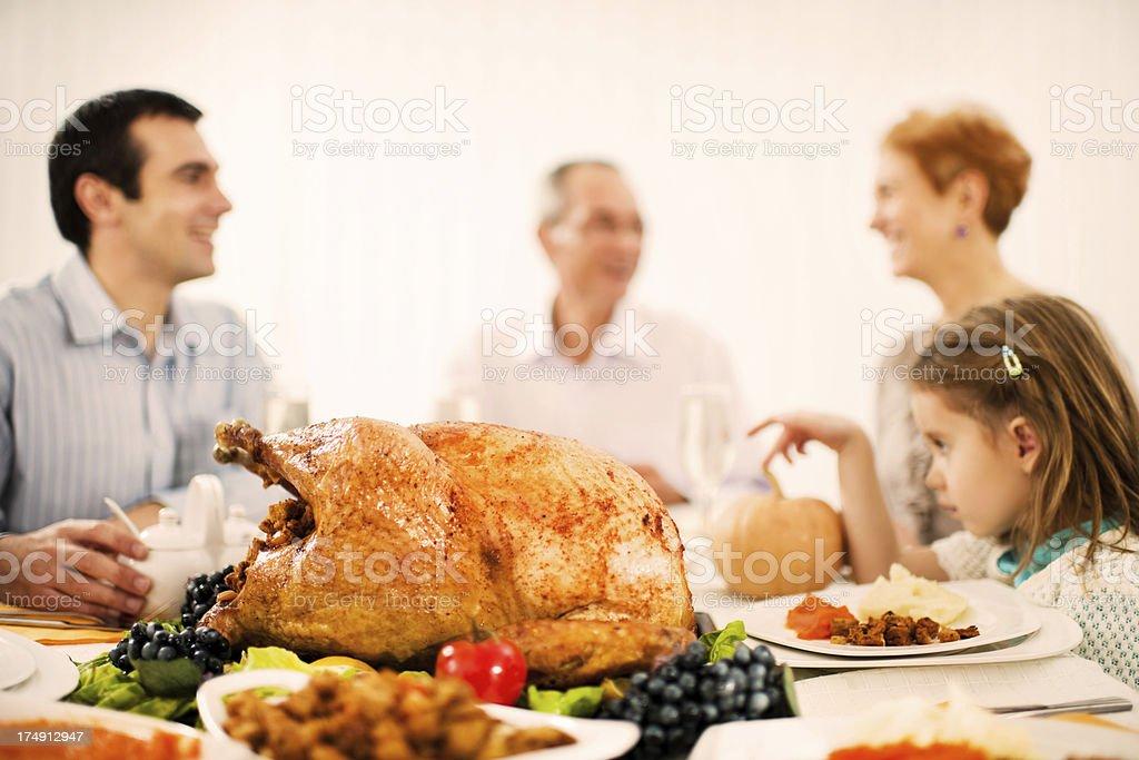 Family celebrating Thanksgiving day. royalty-free stock photo