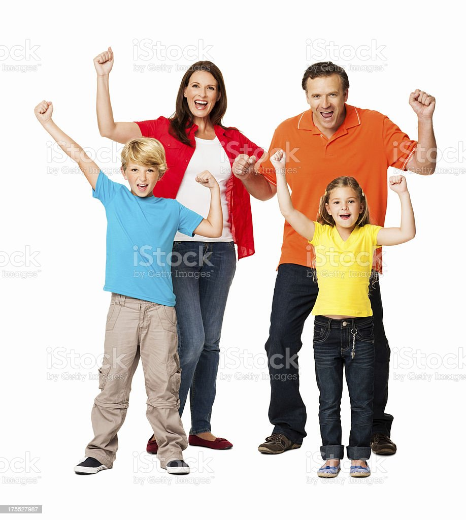 Family Cheering Out Loud - Isolated royalty-free stock photo