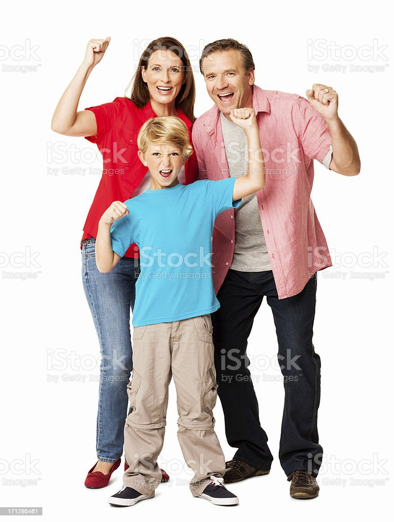 Family Cheering Together - Isolated royalty-free stock photo