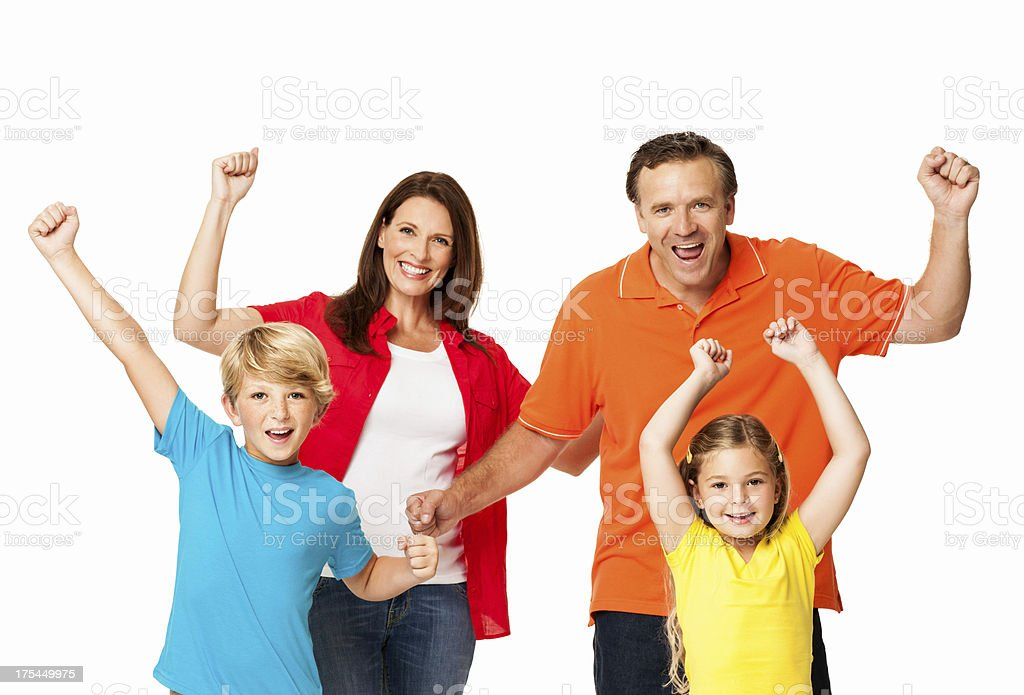 Family Cheering With Clenched Fists - Isolated royalty-free stock photo