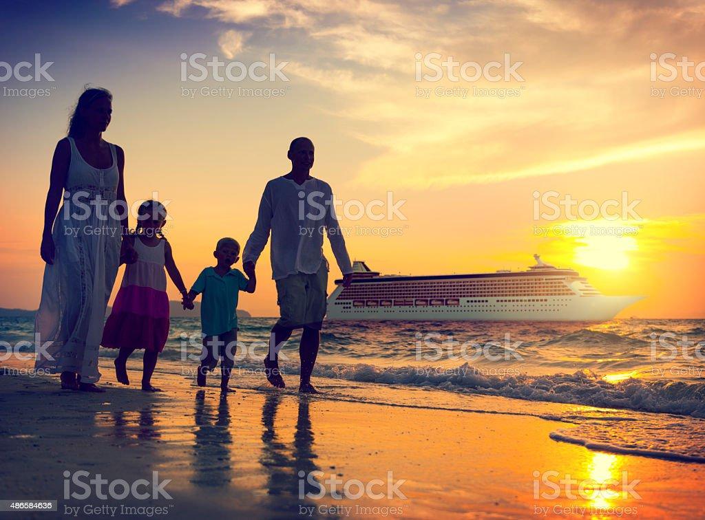 Family Children Beach Cruise Ship Relaxation Concept stock photo