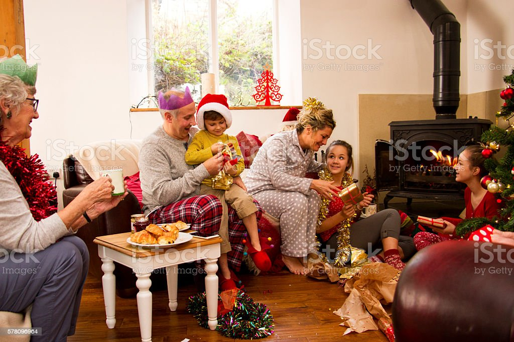 Family Christmas Morning stock photo