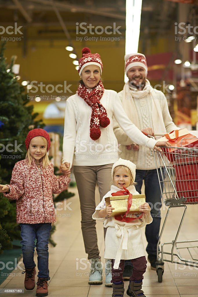 Family Christmas shopping royalty-free stock photo