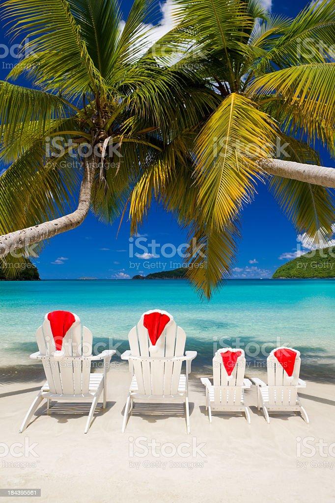 family Christmas vacation at a tropical beach royalty-free stock photo
