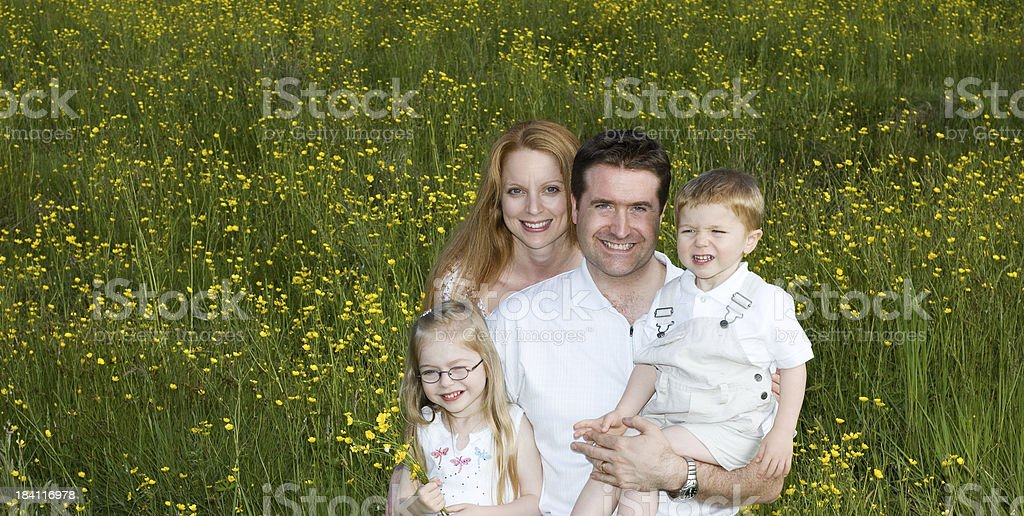 Family Closeup In Field royalty-free stock photo