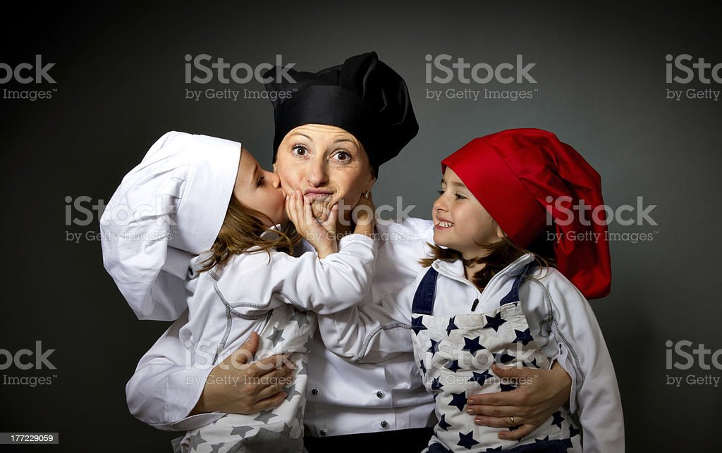 family cook chef kiss in valentine's day royalty-free stock photo