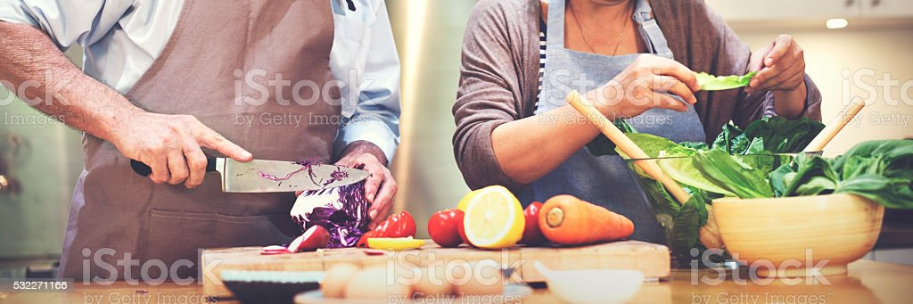 Family Cooking Kitchen Food Togetherness Concept stock photo