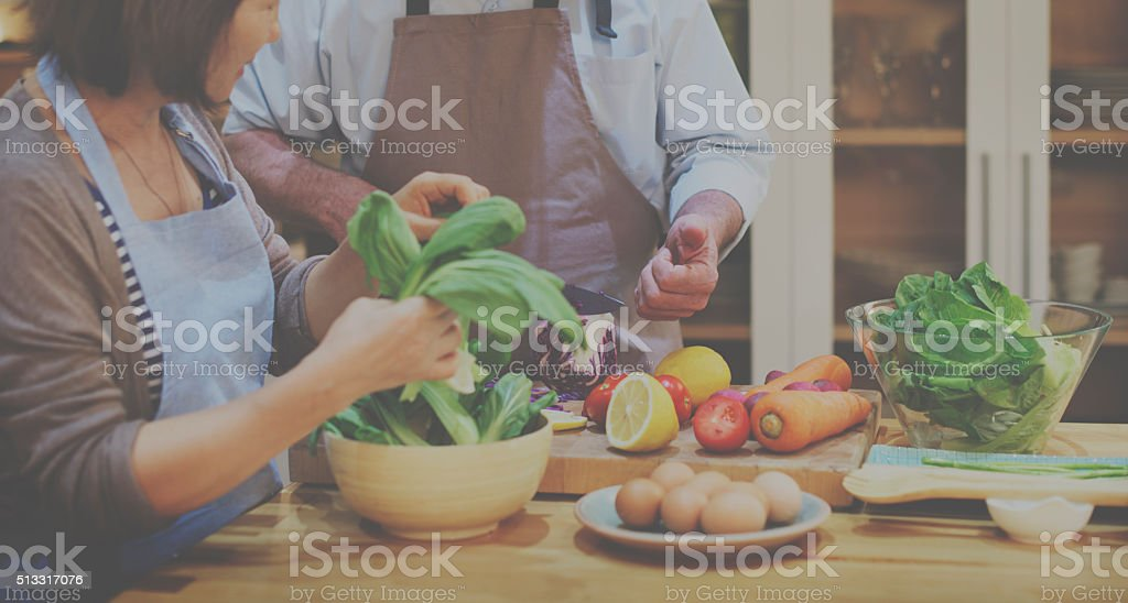 Family Cooking Kitchen Preparation Dinner Concept stock photo
