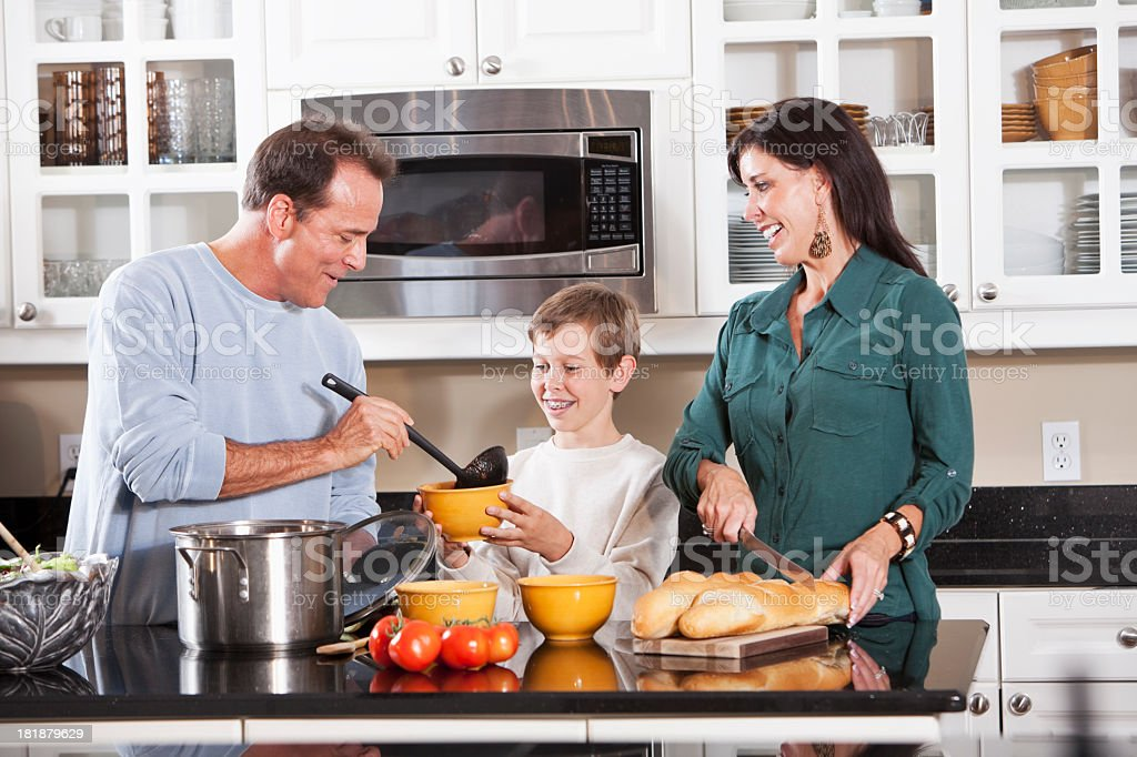 Family cooking stock photo