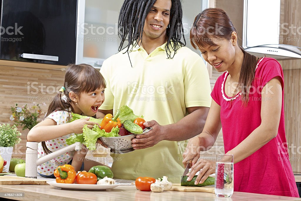Family cooking royalty-free stock photo