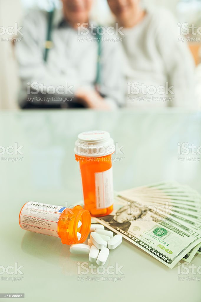 Family Couple Facing Cost of Prescription Drug Medication Vt royalty-free stock photo