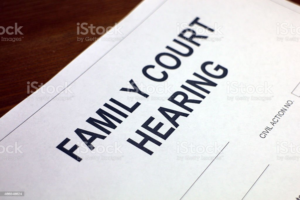 Family Court Hearing Closeup stock photo