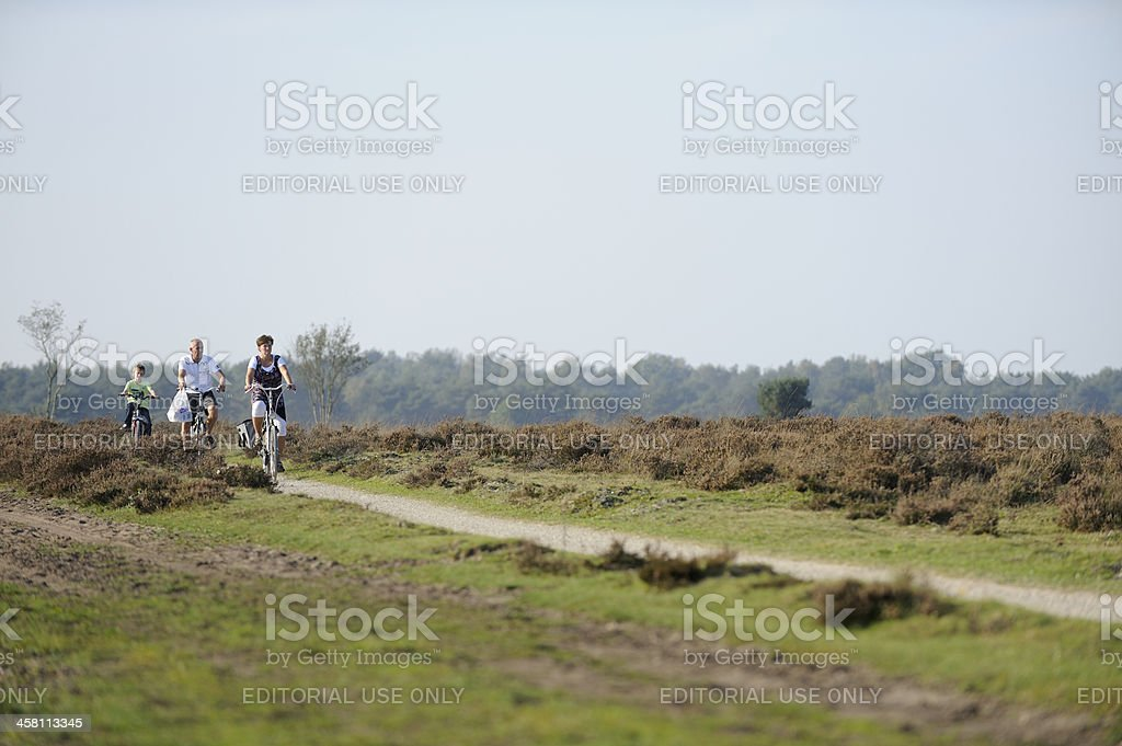 Family cycling in nature royalty-free stock photo