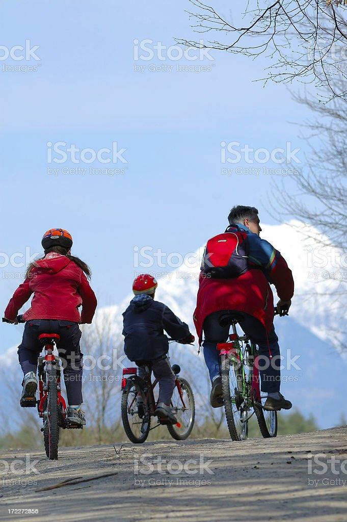 Family cycling royalty-free stock photo