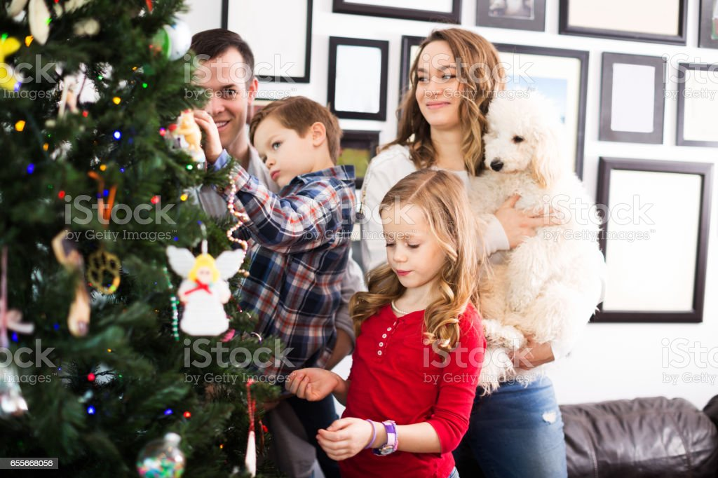 People Decorating For Christmas father and son decorating the christmas tree pictures, images and