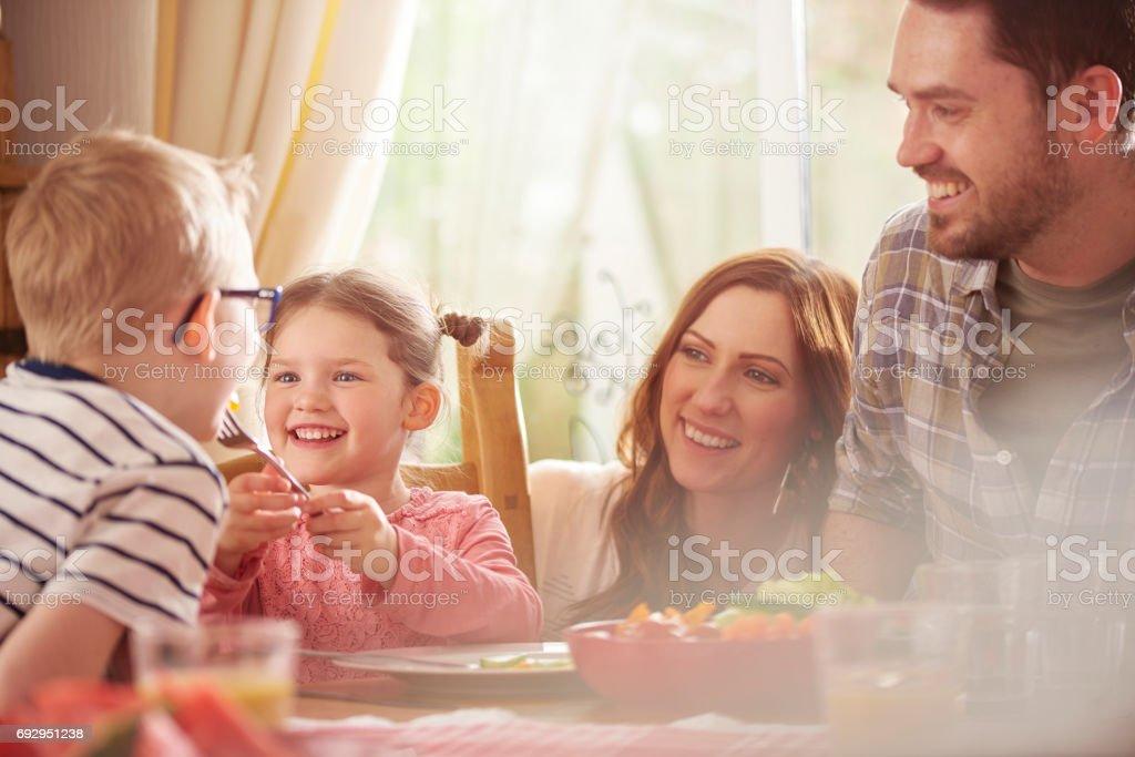 family dining stock photo
