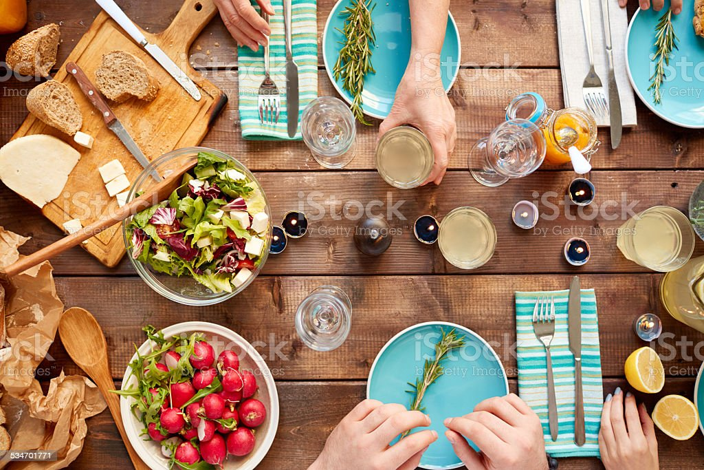 Family dining table stock photo