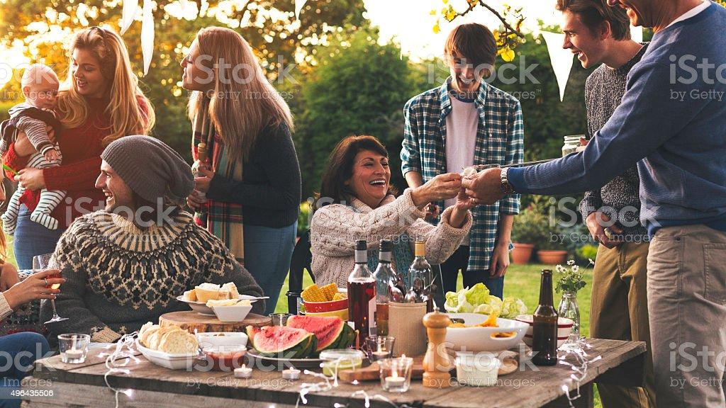 Family Dinner in the Garden stock photo