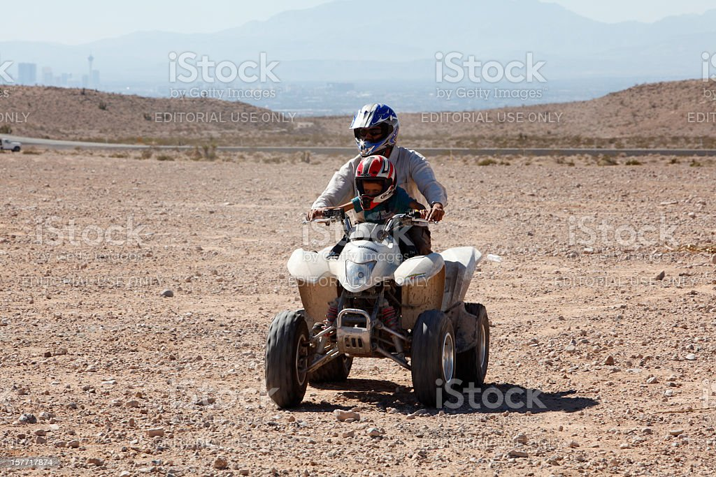 Family Dirt Biking Nellis Dunes Las Vegas royalty-free stock photo