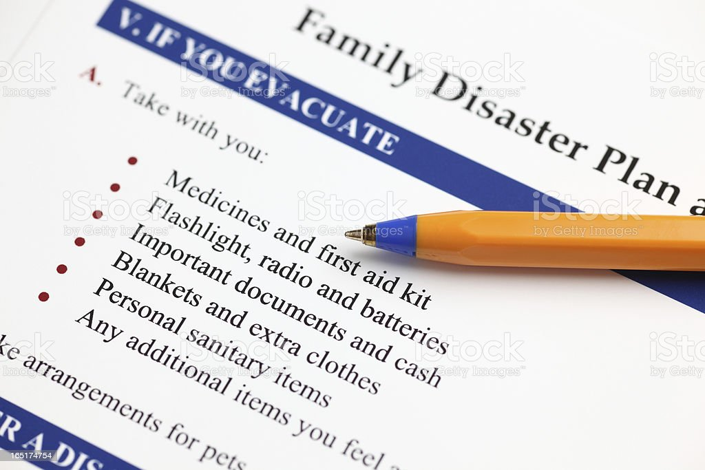 Family Disaster Plan royalty-free stock photo