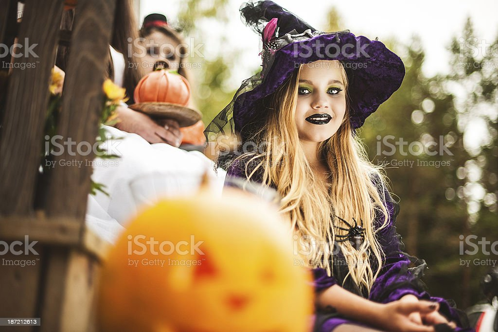 Family dressed up for halloween royalty-free stock photo