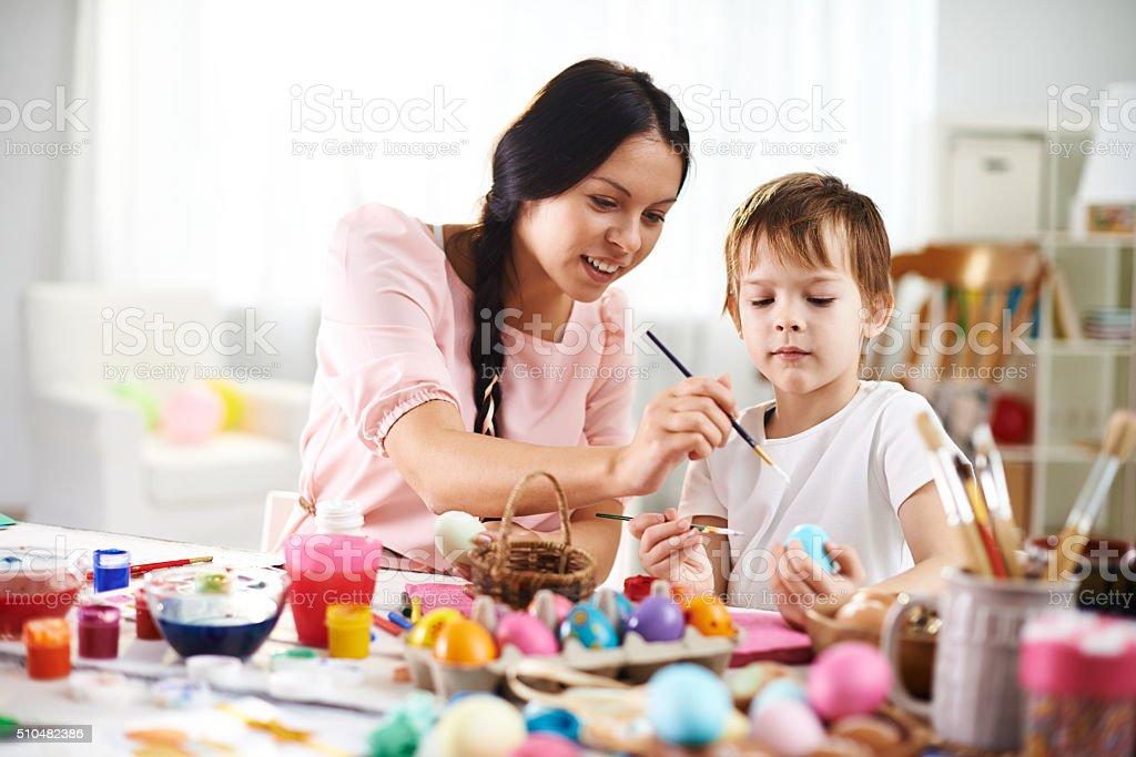 Family Easter activity stock photo