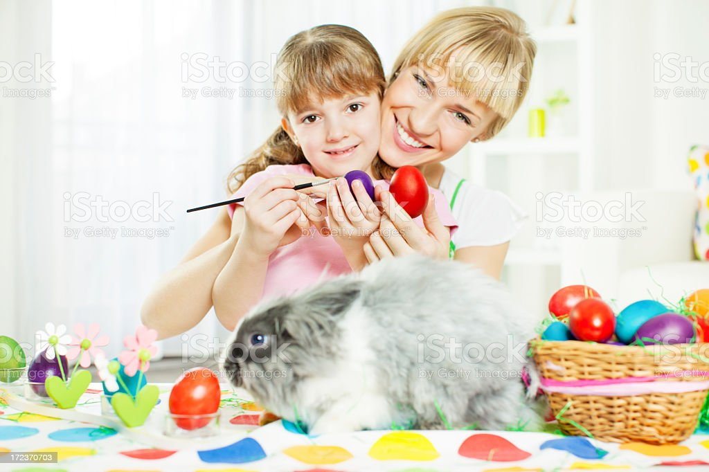 Family Easter Portrait WIth Bunny. royalty-free stock photo