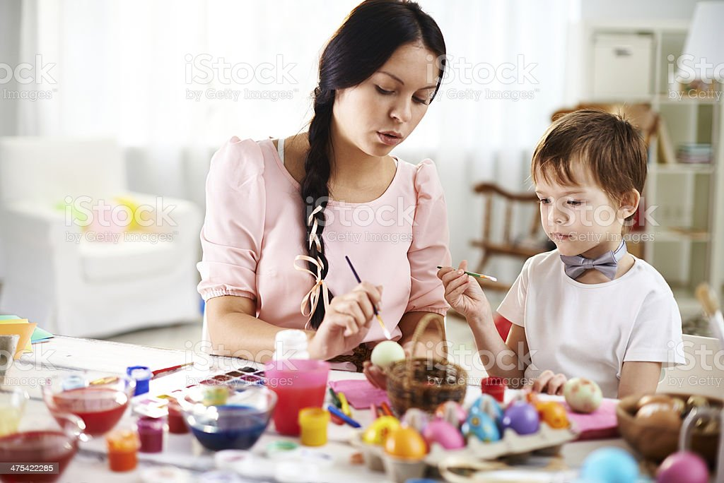 Family Easter preparation stock photo