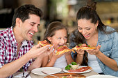 Family eating pizza at a restaurant