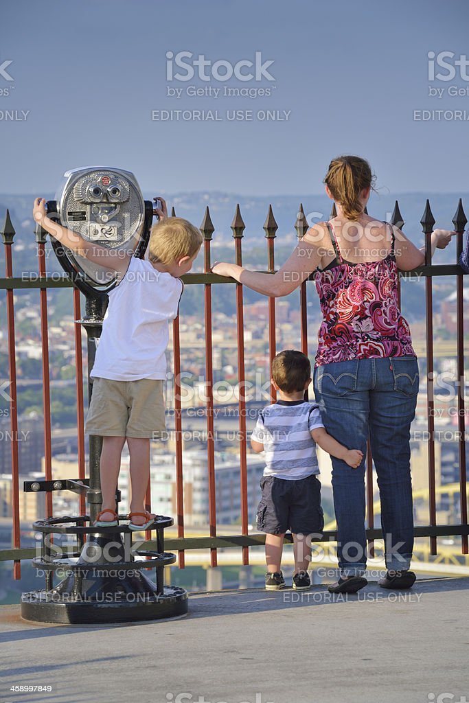 Family enjoing panoramic view of Downtown Pittsburgh , PA stock photo