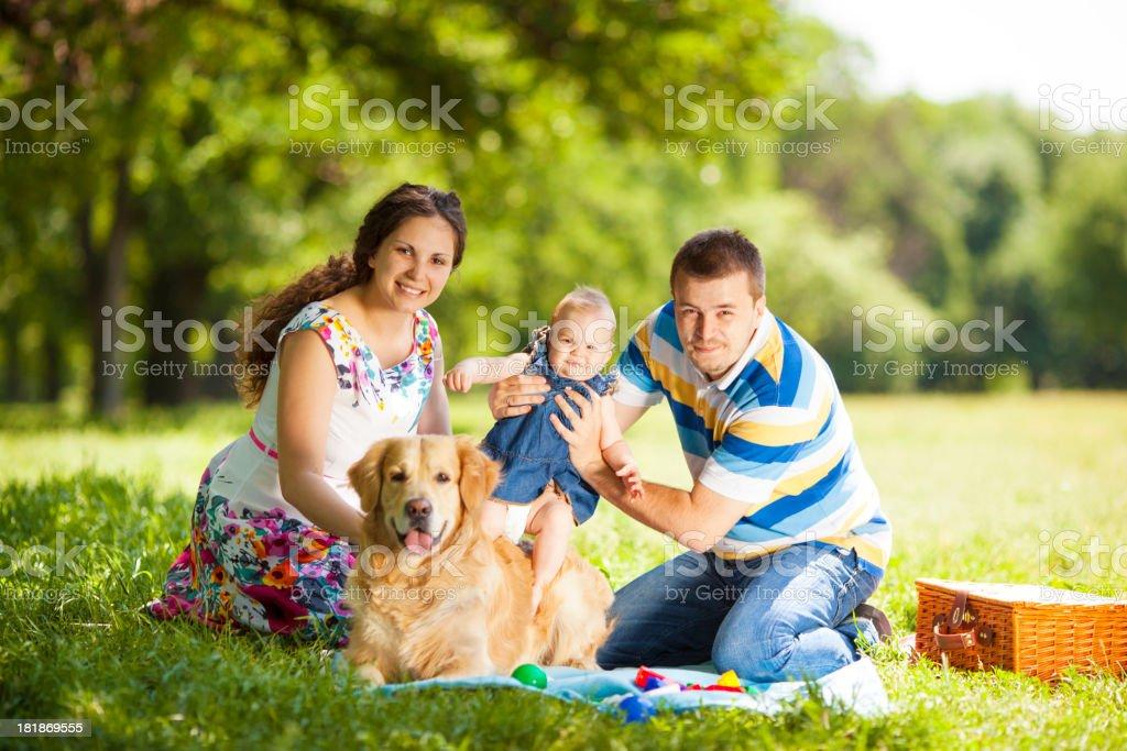 Family Enjoy Picnic Outdoors. royalty-free stock photo
