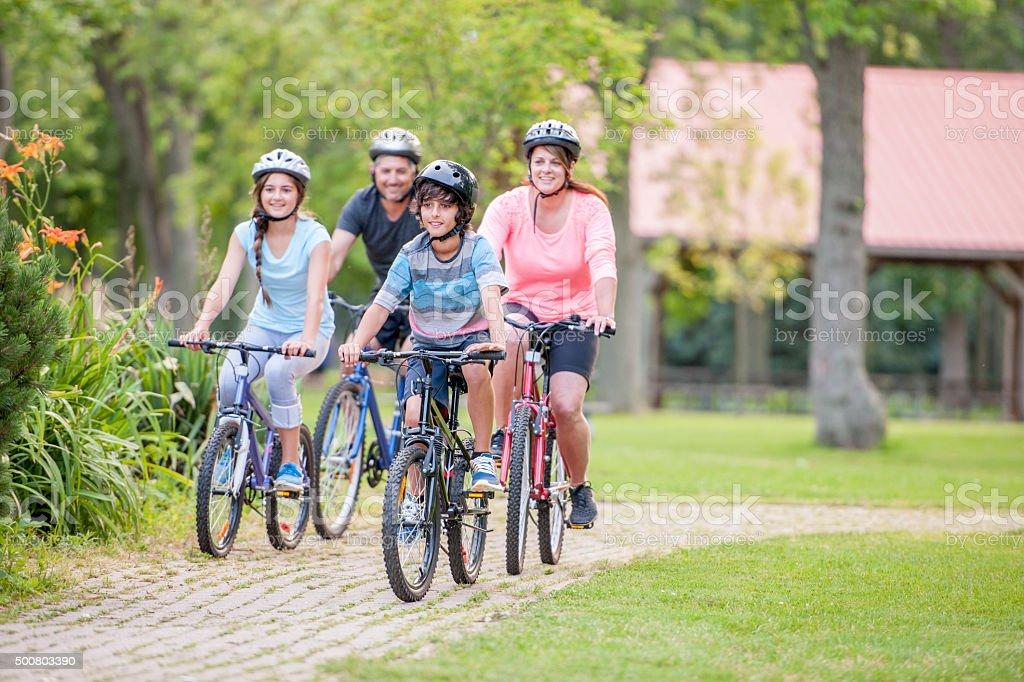 Family Enjoying a Bike Ride Together stock photo