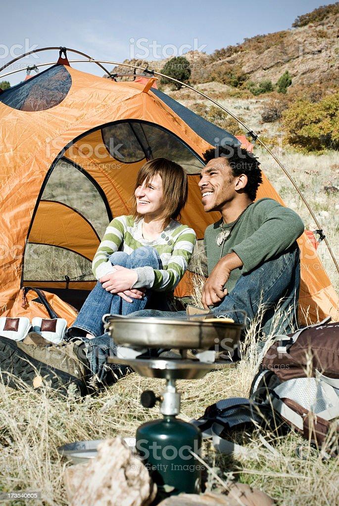 A family enjoying a camping holiday royalty-free stock photo