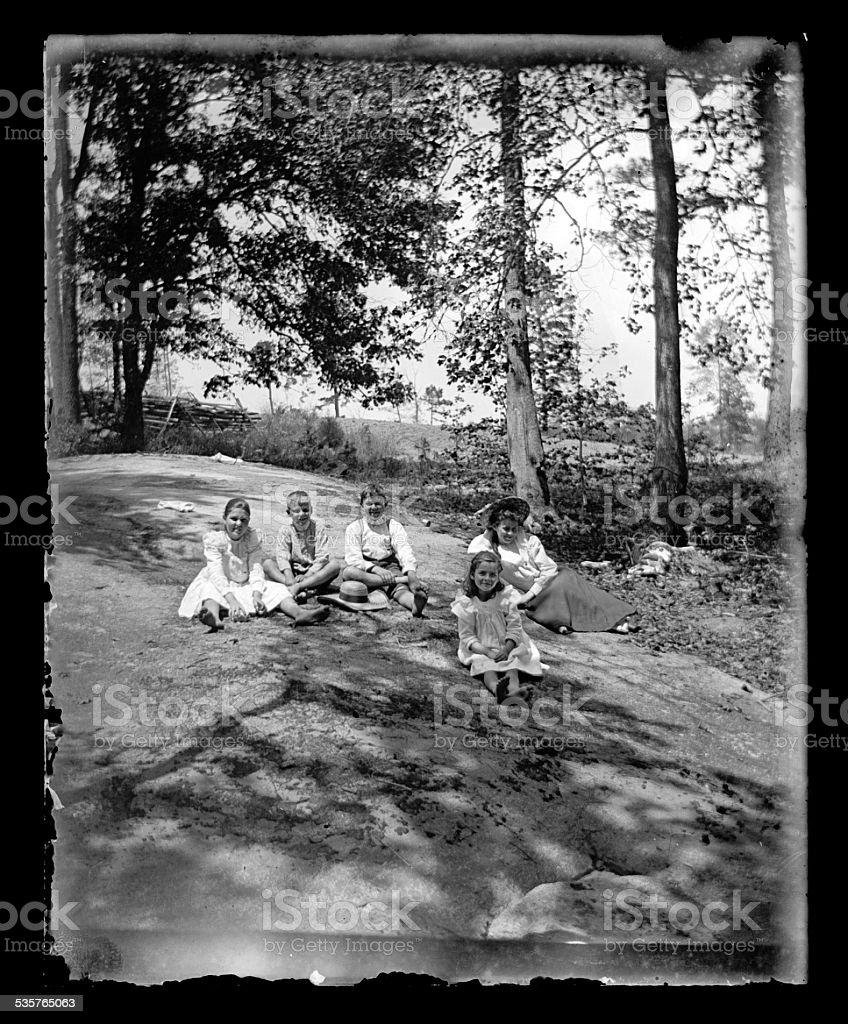 Family Enjoying a Summer Day, Circa 1890 stock photo