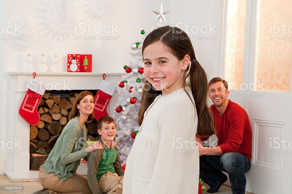 Family enjoying Christmas together royalty-free stock photo