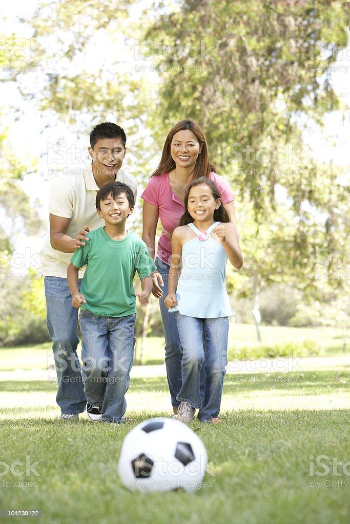 Family Enjoying Day In Park stock photo