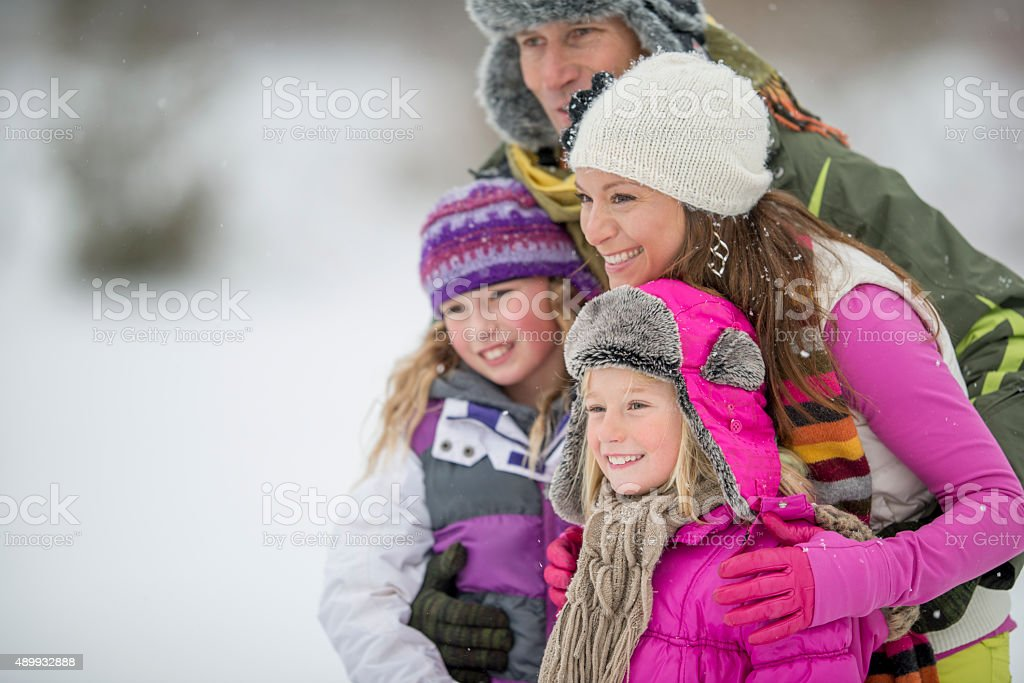 Family Enjoying Nature in the Winter stock photo
