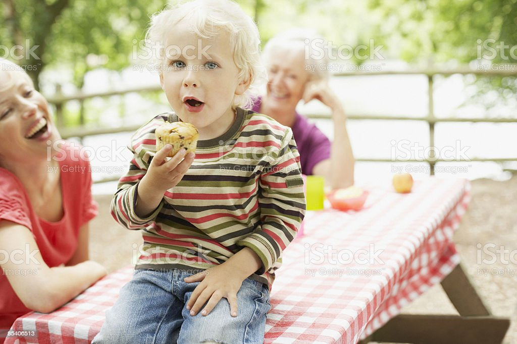 Family enjoying picnic in park royalty-free stock photo