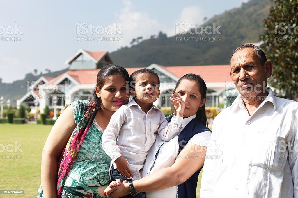 Family enjoying summer vacation in resort stock photo