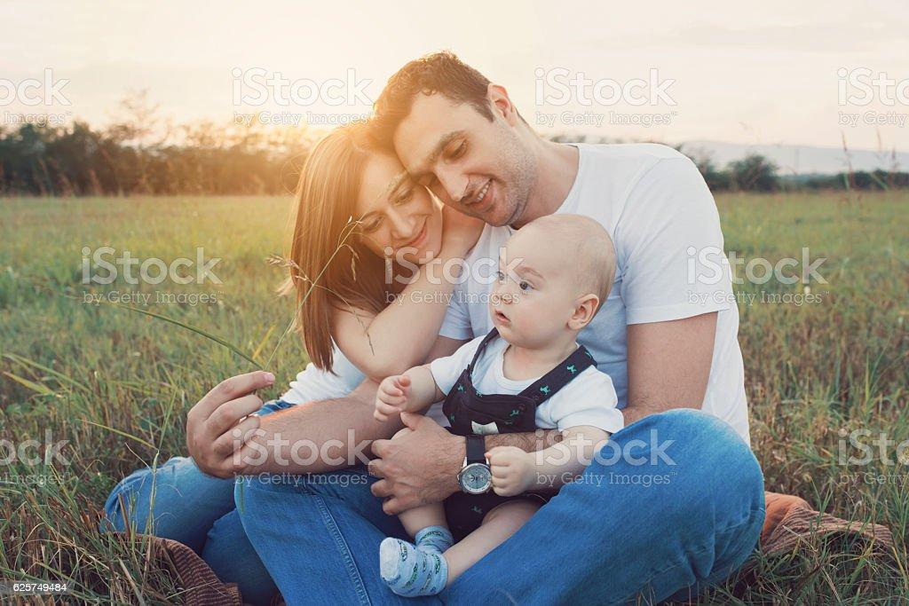 Family enjoying the nature stock photo