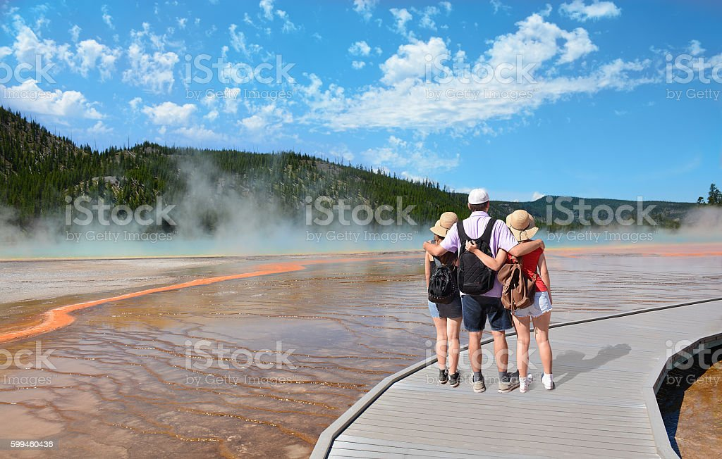 Family enjoying time together on a  hiking trip. stock photo