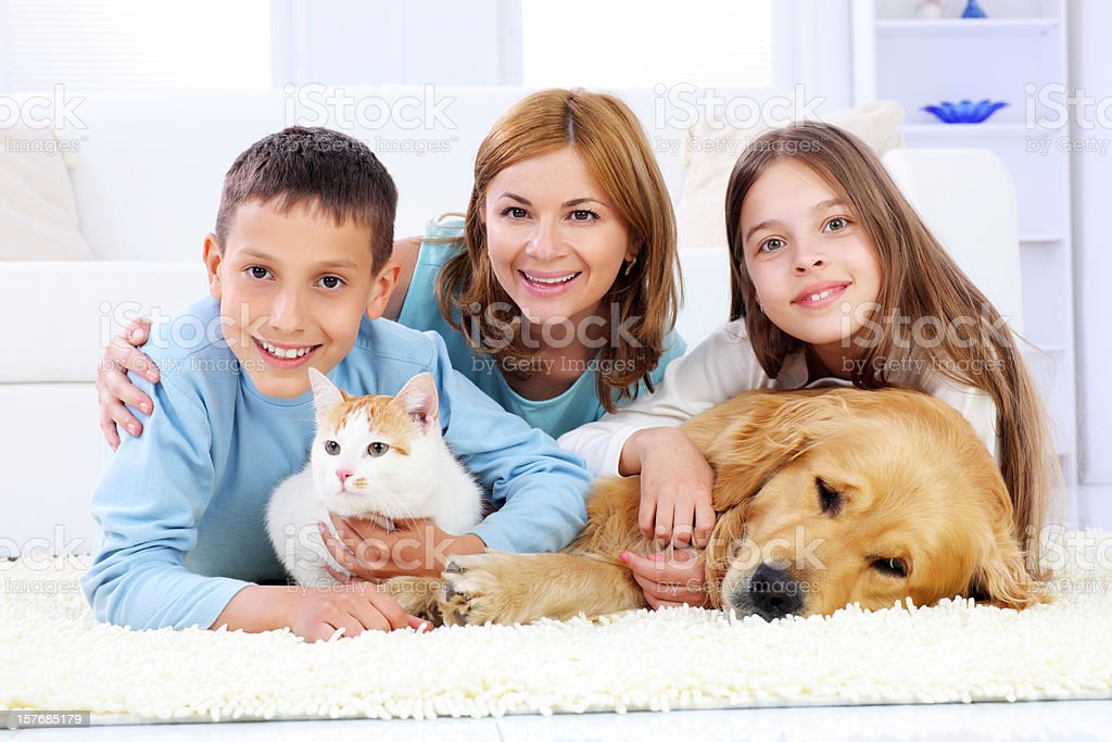 Family enjoyment of mothers with children and pets. royalty-free stock photo