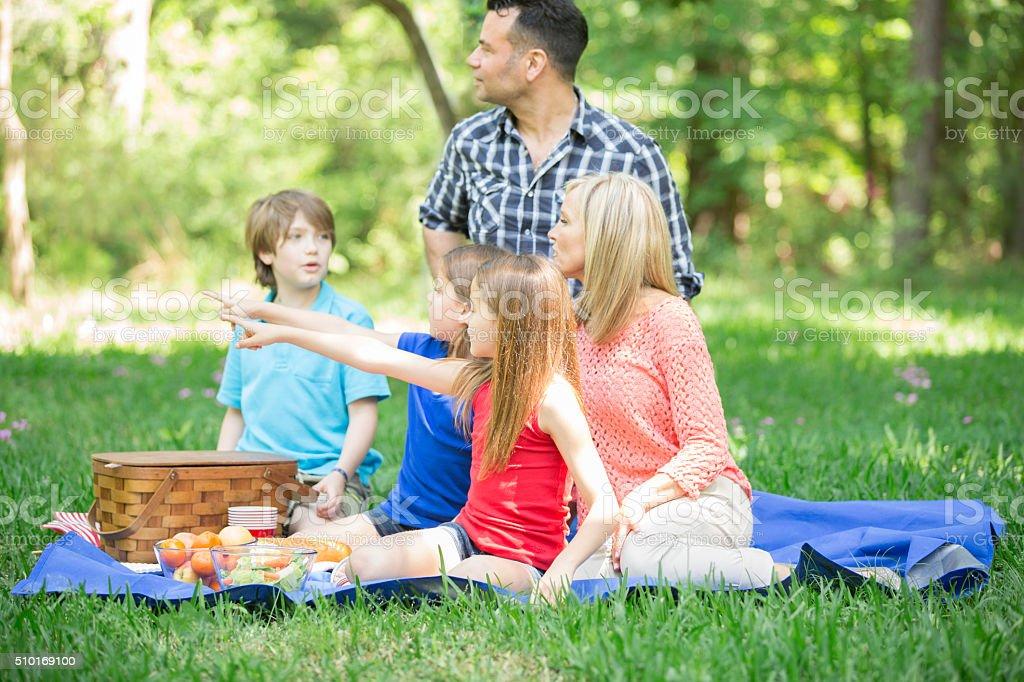 Family enjoys picnic outdoors in summer season. Park or yard. stock photo