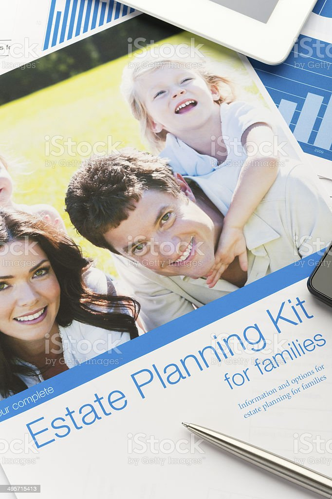 Family Estate planning document stock photo