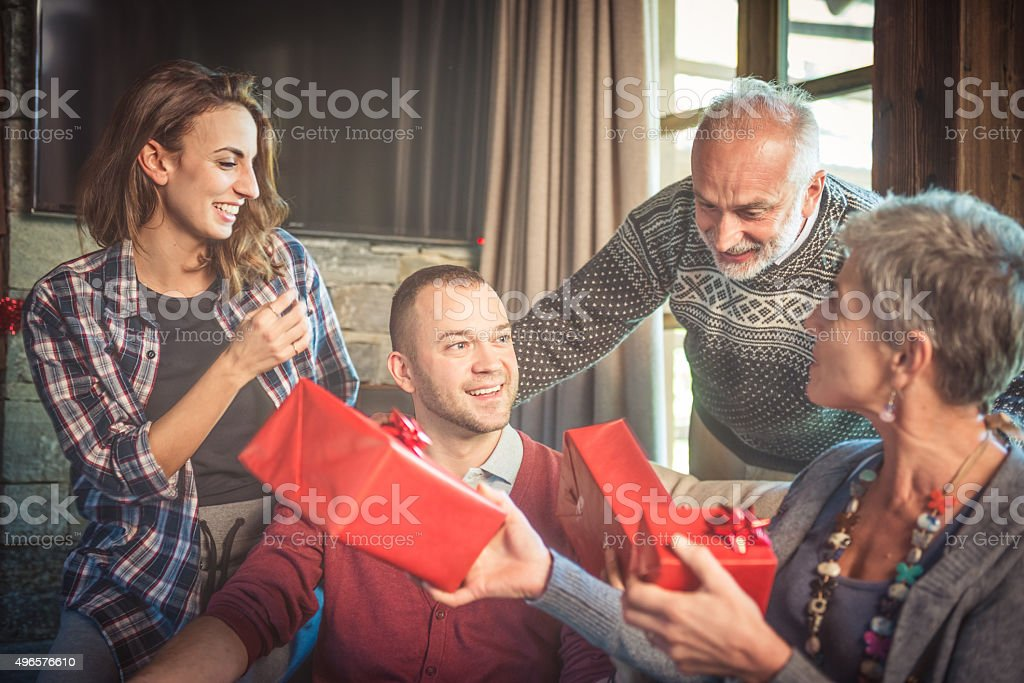 Family exchange Christmas gifts stock photo