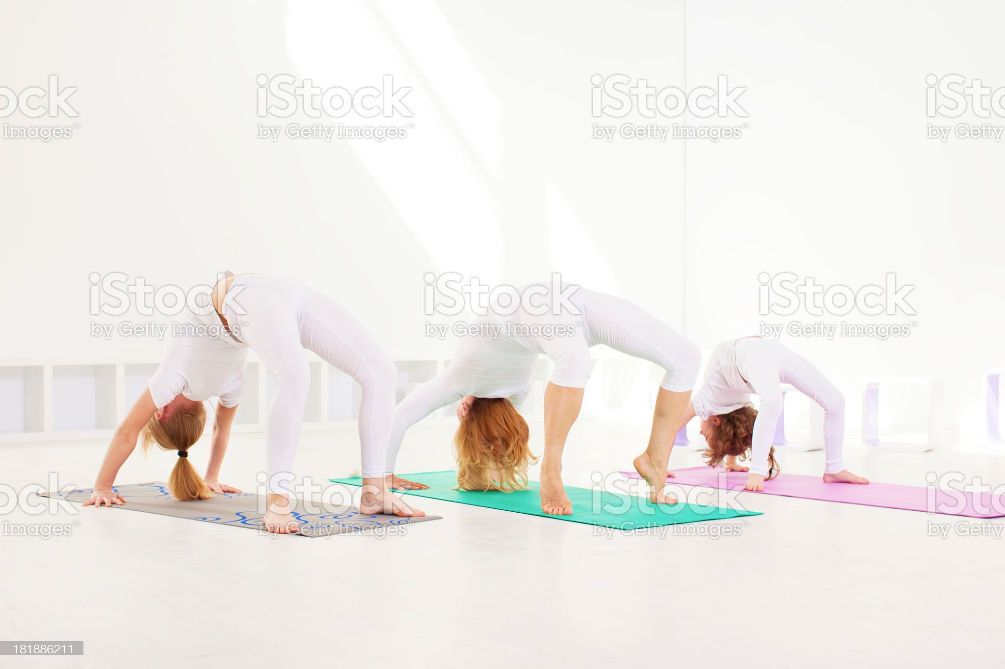 Family Exercise Yoga At Home royalty-free stock photo