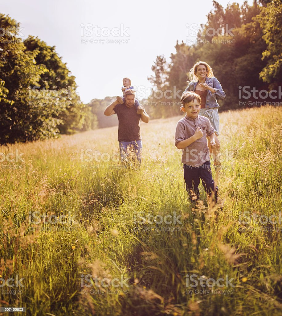 family exploring park stock photo