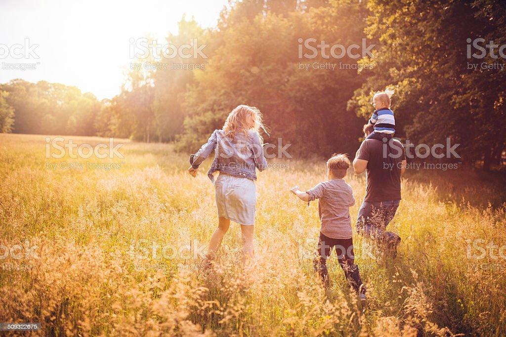 family exploring park stock photo
