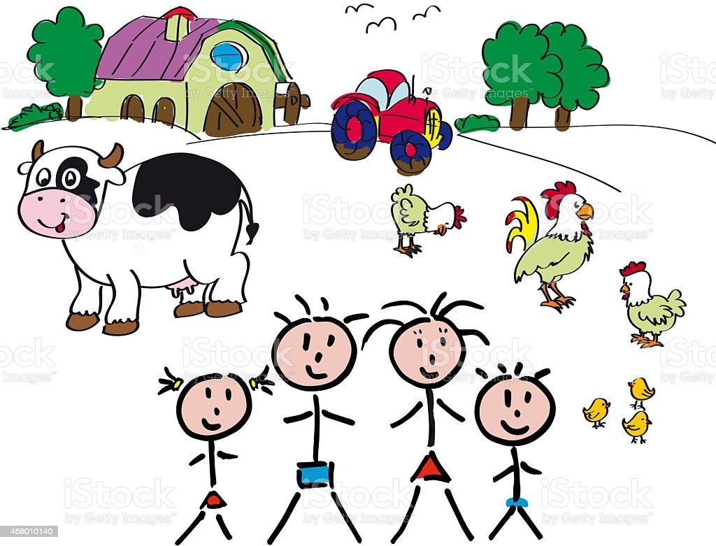 Family Farm animals stock photo